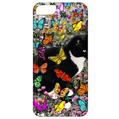 Freckles In Butterflies I, Black White Tux Cat Apple Iphone 5 Classic Hardshell Case by DianeClancy