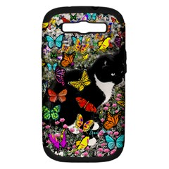 Freckles In Butterflies I, Black White Tux Cat Samsung Galaxy S Iii Hardshell Case (pc+silicone) by DianeClancy