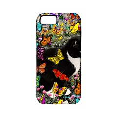 Freckles In Butterflies I, Black White Tux Cat Apple Iphone 5 Classic Hardshell Case (pc+silicone) by DianeClancy