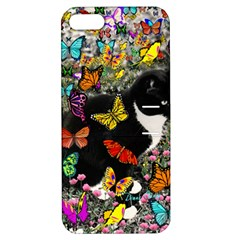 Freckles In Butterflies I, Black White Tux Cat Apple Iphone 5 Hardshell Case With Stand by DianeClancy