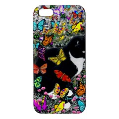 Freckles In Butterflies I, Black White Tux Cat Apple Iphone 5 Premium Hardshell Case by DianeClancy