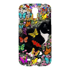 Freckles In Butterflies I, Black White Tux Cat Samsung Galaxy S4 I9500/i9505 Hardshell Case by DianeClancy