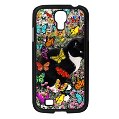 Freckles In Butterflies I, Black White Tux Cat Samsung Galaxy S4 I9500/ I9505 Case (black) by DianeClancy