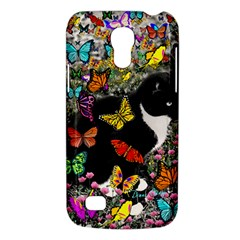 Freckles In Butterflies I, Black White Tux Cat Galaxy S4 Mini by DianeClancy