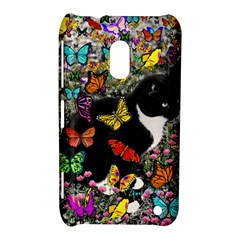 Freckles In Butterflies I, Black White Tux Cat Nokia Lumia 620 by DianeClancy