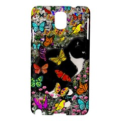Freckles In Butterflies I, Black White Tux Cat Samsung Galaxy Note 3 N9005 Hardshell Case by DianeClancy