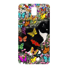 Freckles In Butterflies I, Black White Tux Cat Samsung Galaxy Note 3 N9005 Hardshell Back Case by DianeClancy