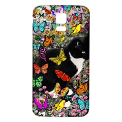 Freckles In Butterflies I, Black White Tux Cat Samsung Galaxy S5 Back Case (white) by DianeClancy