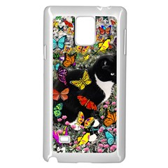 Freckles In Butterflies I, Black White Tux Cat Samsung Galaxy Note 4 Case (white) by DianeClancy
