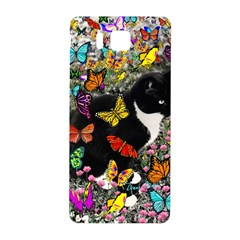 Freckles In Butterflies I, Black White Tux Cat Samsung Galaxy Alpha Hardshell Back Case by DianeClancy