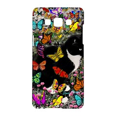 Freckles In Butterflies I, Black White Tux Cat Samsung Galaxy A5 Hardshell Case  by DianeClancy