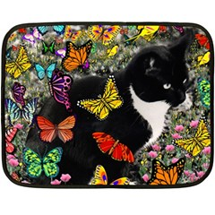 Freckles In Butterflies I, Black White Tux Cat Fleece Blanket (mini) by DianeClancy