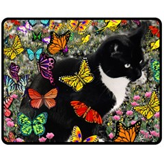 Freckles In Butterflies I, Black White Tux Cat Fleece Blanket (medium)  by DianeClancy