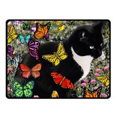 Freckles In Butterflies I, Black White Tux Cat Fleece Blanket (small) by DianeClancy