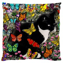 Freckles In Butterflies I, Black White Tux Cat Large Cushion Case (two Sides) by DianeClancy