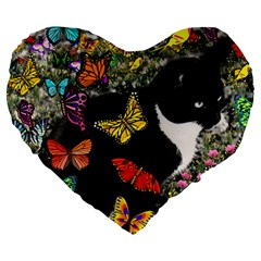 Freckles In Butterflies I, Black White Tux Cat Large 19  Premium Heart Shape Cushions by DianeClancy