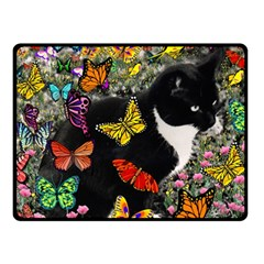 Freckles In Butterflies I, Black White Tux Cat Double Sided Fleece Blanket (small)  by DianeClancy
