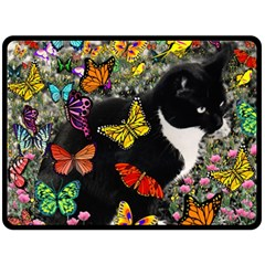 Freckles In Butterflies I, Black White Tux Cat Double Sided Fleece Blanket (Large)  by DianeClancy