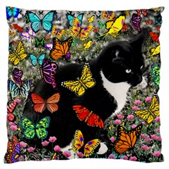 Freckles In Butterflies I, Black White Tux Cat Large Flano Cushion Case (one Side) by DianeClancy