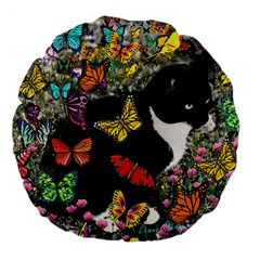 Freckles In Butterflies I, Black White Tux Cat Large 18  Premium Flano Round Cushions by DianeClancy