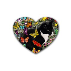 Freckles In Butterflies I, Black White Tux Cat Rubber Coaster (heart)  by DianeClancy