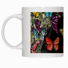 Freckles In Butterflies I, Black White Tux Cat White Mugs by DianeClancy