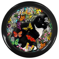 Freckles In Butterflies I, Black White Tux Cat Wall Clocks (black) by DianeClancy