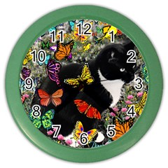 Freckles In Butterflies I, Black White Tux Cat Color Wall Clocks by DianeClancy