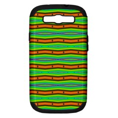 Bright Green Orange Lines Stripes Samsung Galaxy S Iii Hardshell Case (pc+silicone) by BrightVibesDesign