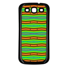 Bright Green Orange Lines Stripes Samsung Galaxy S3 Back Case (black) by BrightVibesDesign