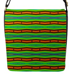 Bright Green Orange Lines Stripes Flap Messenger Bag (s) by BrightVibesDesign