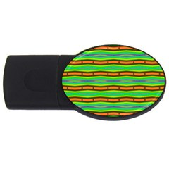 Bright Green Orange Lines Stripes Usb Flash Drive Oval (4 Gb)  by BrightVibesDesign