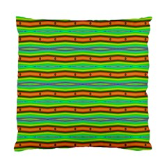 Bright Green Orange Lines Stripes Standard Cushion Case (one Side) by BrightVibesDesign