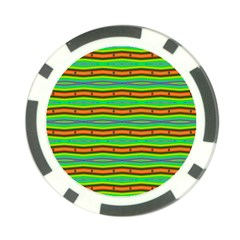 Bright Green Orange Lines Stripes Poker Chip Card Guards (10 pack)  by BrightVibesDesign