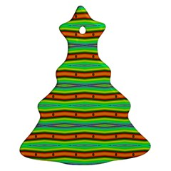 Bright Green Orange Lines Stripes Ornament (christmas Tree) by BrightVibesDesign
