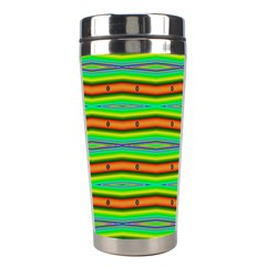 Bright Green Orange Lines Stripes Stainless Steel Travel Tumblers by BrightVibesDesign