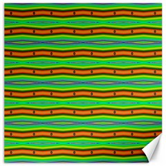 Bright Green Orange Lines Stripes Canvas 16  X 16   by BrightVibesDesign