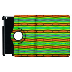 Bright Green Orange Lines Stripes Apple Ipad 2 Flip 360 Case by BrightVibesDesign