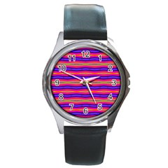 Bright Pink Purple Lines Stripes Round Metal Watch by BrightVibesDesign