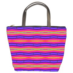 Bright Pink Purple Lines Stripes Bucket Bags by BrightVibesDesign