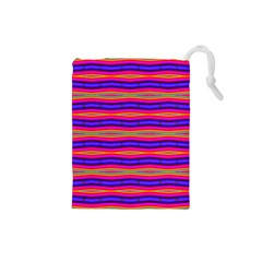 Bright Pink Purple Lines Stripes Drawstring Pouches (small)  by BrightVibesDesign