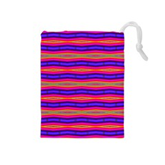 Bright Pink Purple Lines Stripes Drawstring Pouches (Medium)  by BrightVibesDesign