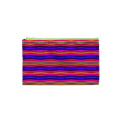 Bright Pink Purple Lines Stripes Cosmetic Bag (xs) by BrightVibesDesign