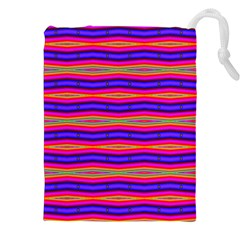 Bright Pink Purple Lines Stripes Drawstring Pouches (XXL) by BrightVibesDesign