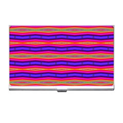 Bright Pink Purple Lines Stripes Business Card Holders by BrightVibesDesign