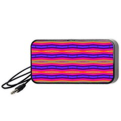 Bright Pink Purple Lines Stripes Portable Speaker (Black)  by BrightVibesDesign