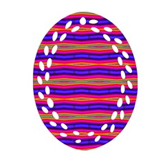 Bright Pink Purple Lines Stripes Oval Filigree Ornament (2 Side)  by BrightVibesDesign