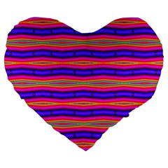 Bright Pink Purple Lines Stripes Large 19  Premium Heart Shape Cushions by BrightVibesDesign