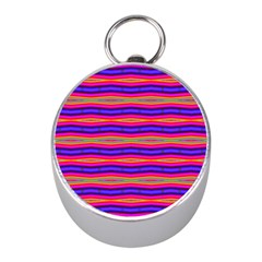 Bright Pink Purple Lines Stripes Mini Silver Compasses by BrightVibesDesign