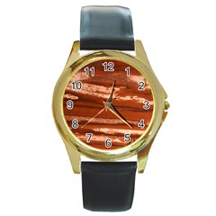 Red Earth Natural Round Gold Metal Watch by UniqueCre8ion